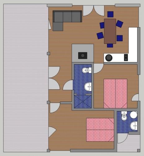 Vienaaukštis keturvietis namas 56 m²